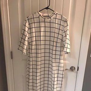 SHEIN Black and White Grid Dress 1X-Never Worn